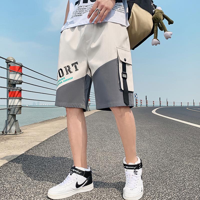 短裤男夏季薄款潮流宽松休闲中裤ins潮牌外穿多口袋五分工装裤子