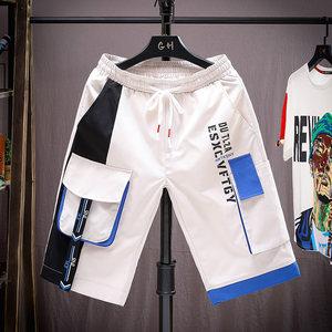 2021夏季新款男式时尚5分裤运动短裤拼色宽松潮流工装沙滩五分裤