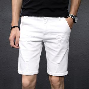 夏季白色破洞牛仔男五分裤韩版短裤