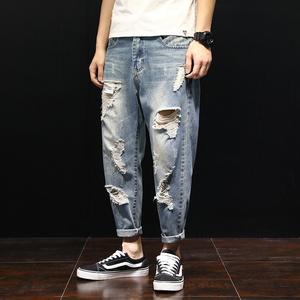 夏季乞丐破洞男宽松大码胖子牛仔裤