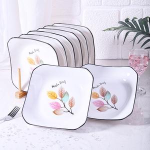 盘子菜盘家用陶瓷盘子黑边创意深盘碟四方形装炒菜盘北欧碟子大号