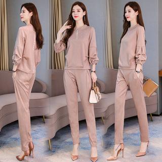 欧诺唐狮妙形秋季休闲套装两件套纯色女装外套显瘦减龄2019年秋季