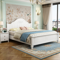 青少年儿童床1.2米1.35m地中海田园韩式白色实木床1.5米美式床1.8