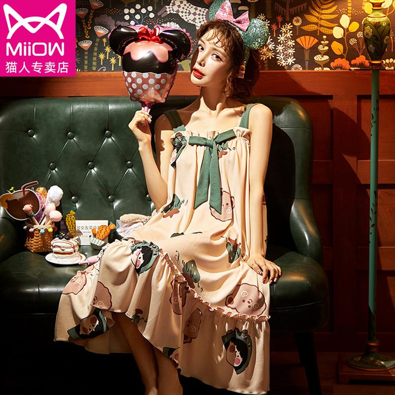 猫人纯棉吊带睡裙女夏天性感中长款少女士睡衣裙夏季薄款甜美可爱