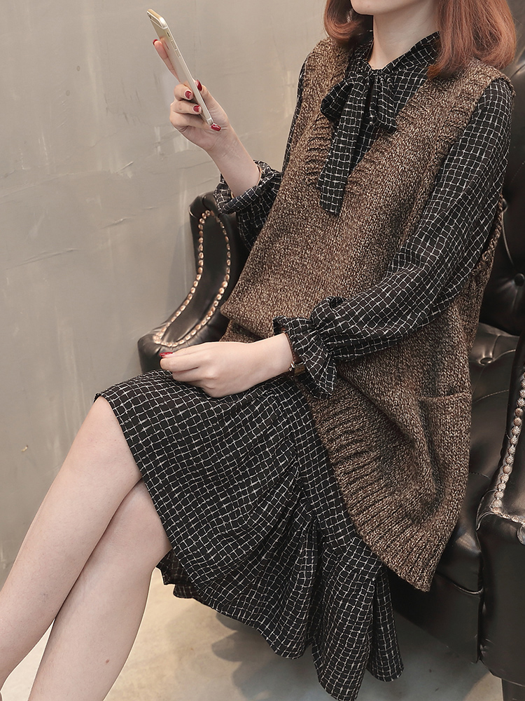 网秋冬新款欧洲站女装中长款显瘦针织马甲雪纺连衣裙两件套装气质