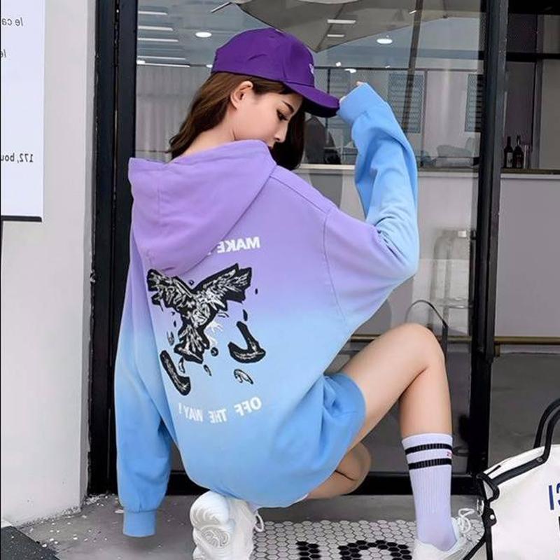 女装2019早秋季新款上衣韩版套头连帽卫衣女时尚渐变色外套图片