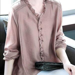 2020女士秋装新款衬衫女长袖秋季中长款V领洋气上衣百搭女装小衫