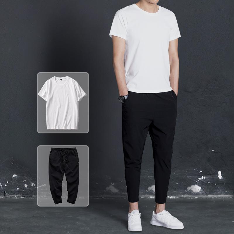 【泰图】韩版潮流九分裤T恤2件套 原价179元券后59元包邮