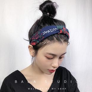 韓國秋冬新款髮箍女復古樹葉印花打結寬邊幾何撞色網紅壓髮卡頭箍