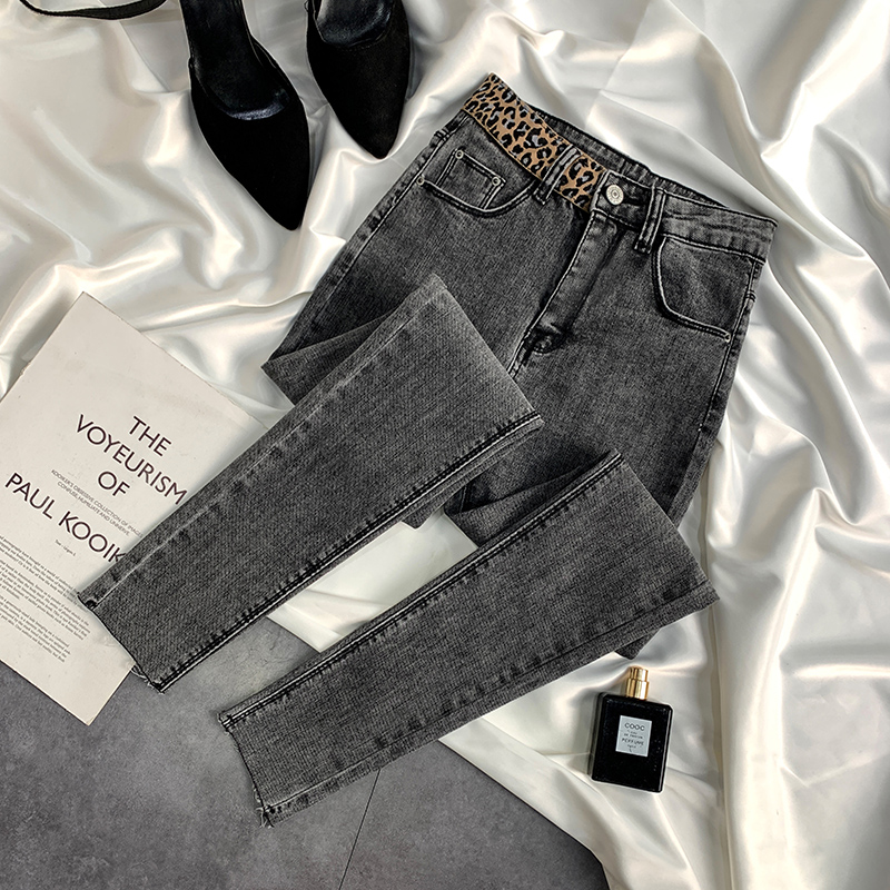 Summer's new thin smoke grey jeans women's high waist show thin nine point Leggings women's fashion ins Leopard