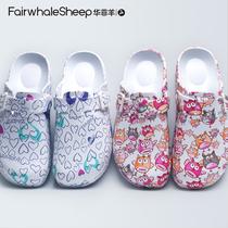 护士拖鞋女潮款手术室手术鞋印花软底花园鞋轻便舒适包头鞋医生鞋