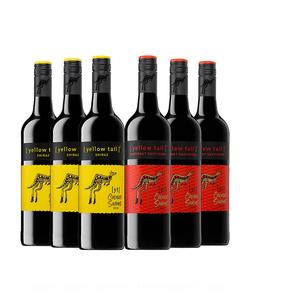 澳洲红酒 Yellow Tail黄尾袋鼠缤纷西拉/梅洛半干红酒葡萄酒整箱