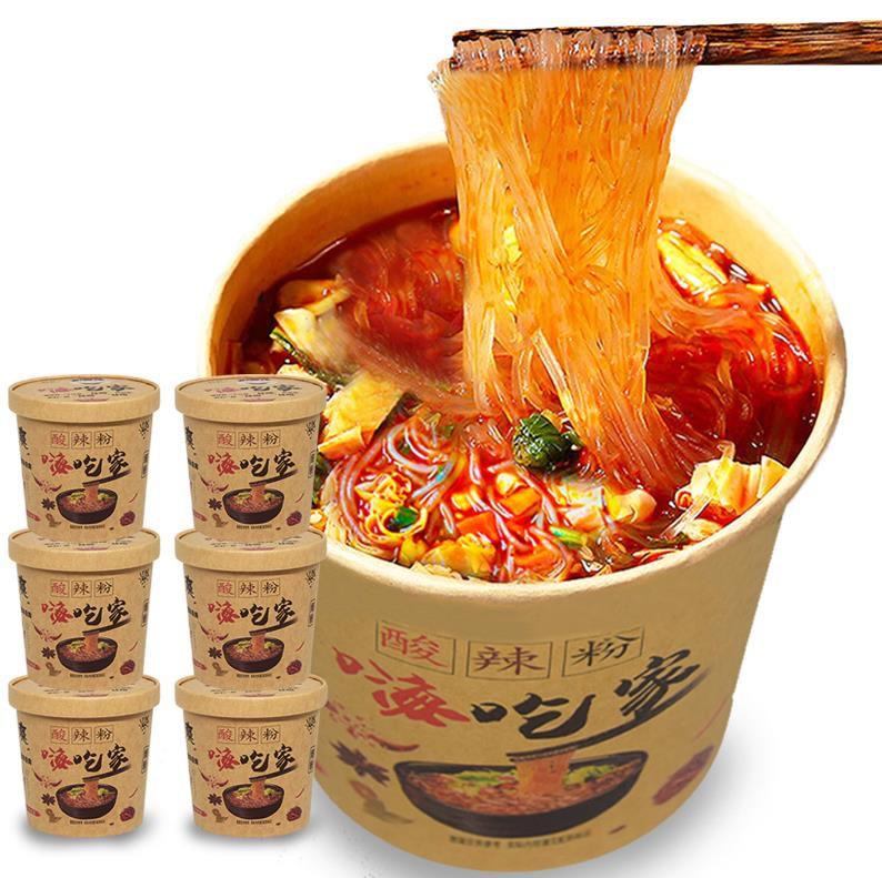 满37.00元可用7.4元优惠券正品嗨吃家酸辣粉6桶正宗重庆红薯粉条粉丝速食螺蛳粉夜宵方便。