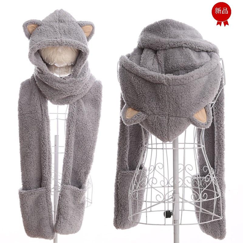 韩版一体大人围脖毛绒春秋冬季男女儿童亲子围巾手套三件套装帽子
