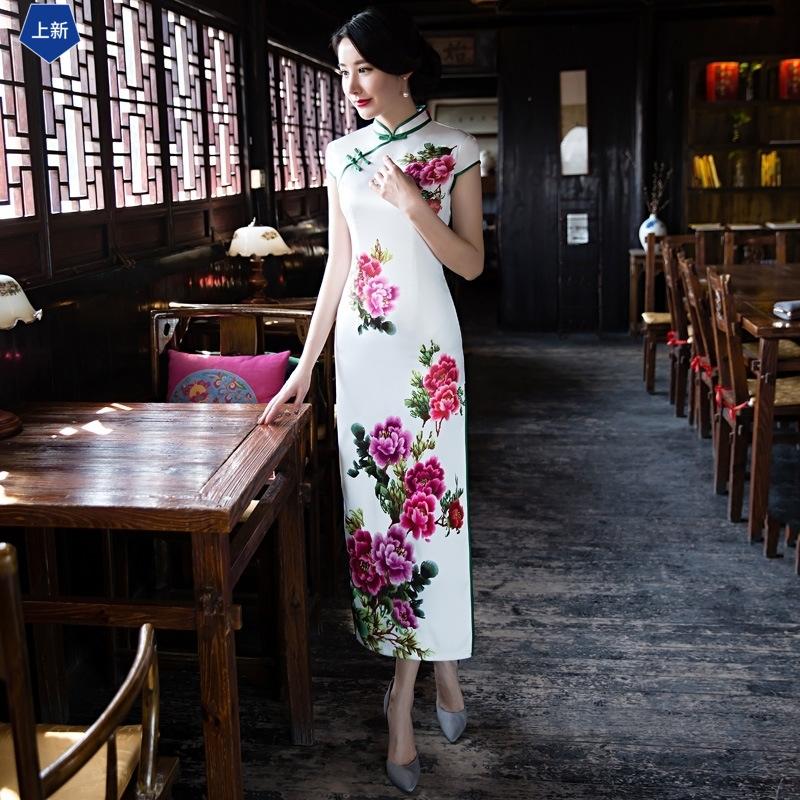 妈妈夏装中国风连衣裙30岁40中年人改良旗袍中老年中长款婚宴礼服11-12新券