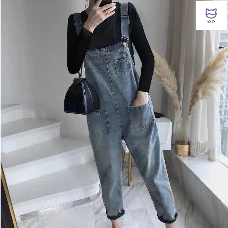 Denim belt pants womens nine point Korean version loose 2020 spring and autumn new style foreign style suit age reduction small summer