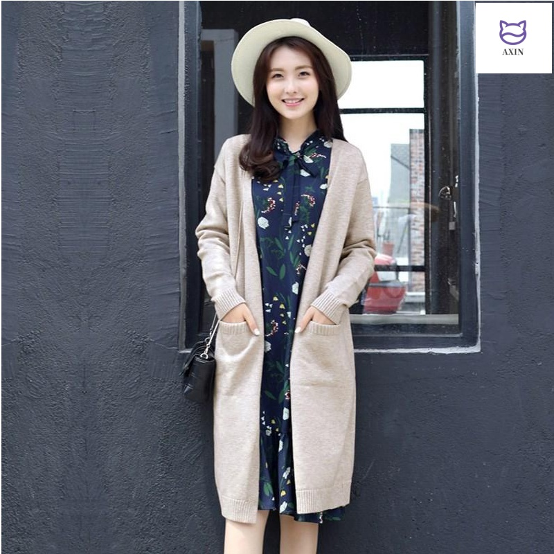 Spring 2020 new knitwear womens cardigan spring and autumn long sleeve thick outer sweater medium length loose versatile coat