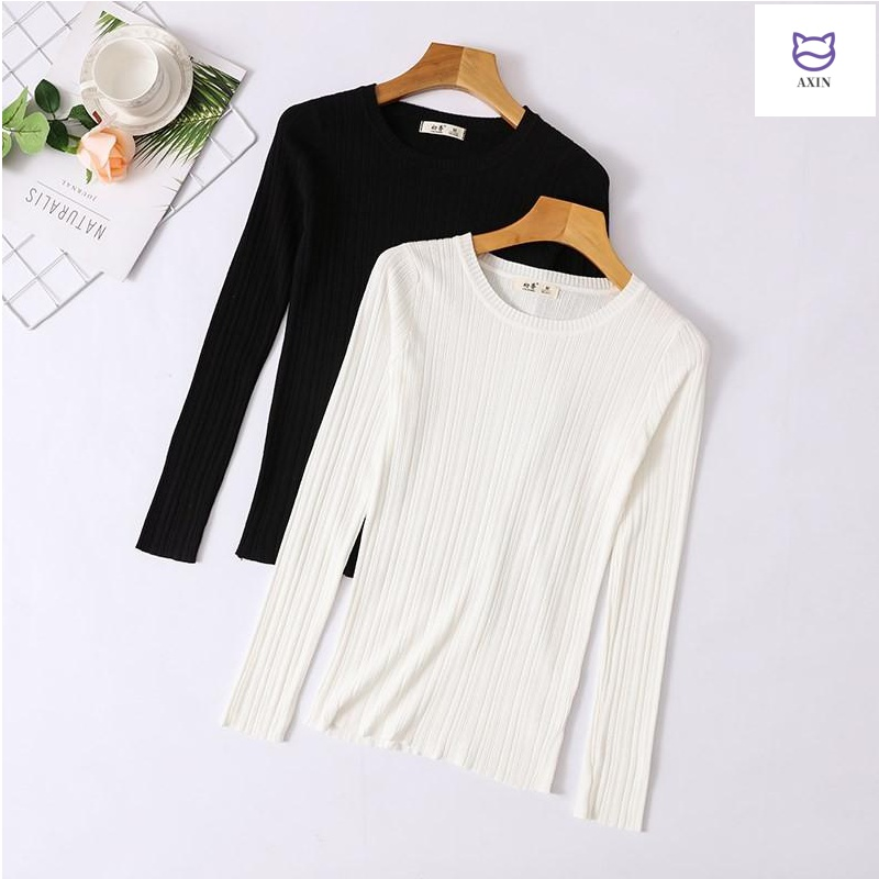 Early spring white ice silk knitwear womens long sleeve sweater with slim thin top and black bottom