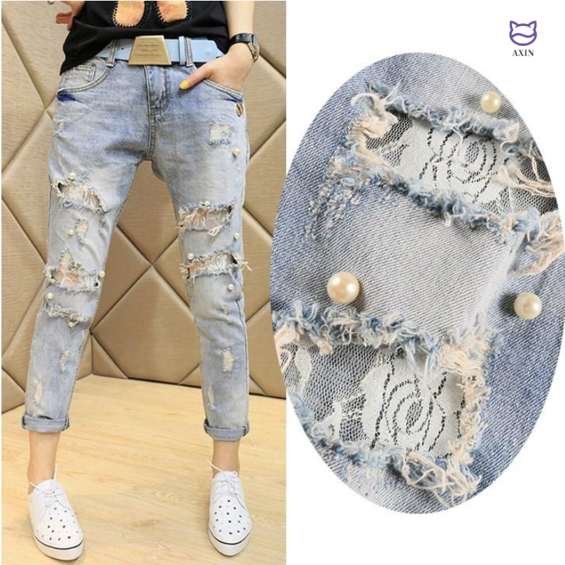 Jeans womens spring and autumn 2020 new Korean version of lace pin beads broken hole Capris loose and thin small leg pants women fashion