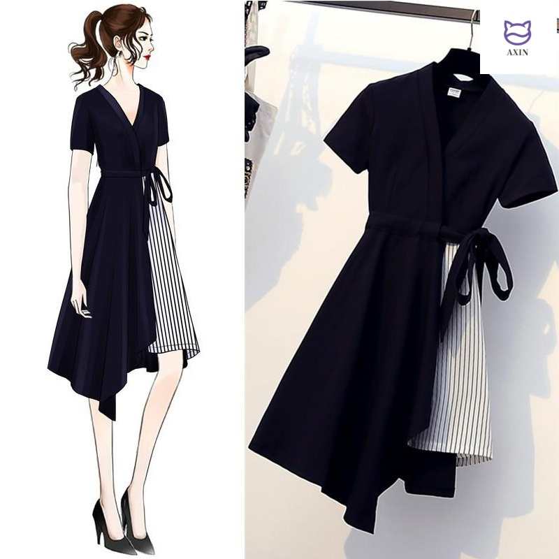 Large womens 2020 new summer dress fat sister mm dress foreign style thin cover belly fake two piece French dress