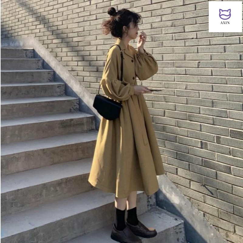 Khaki draping windbreaker womens middle and long 2020 new spring and autumn British anti wrinkle skirt over the knee fashionable coat