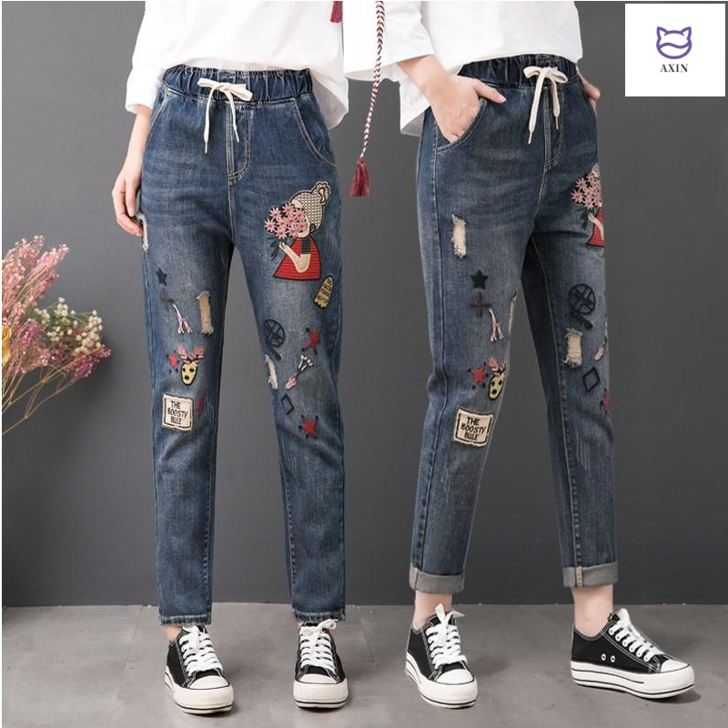 Embroidered jeans womens loose straight elastic waist national style retro high waist pants spring and autumn quarter quarter pants