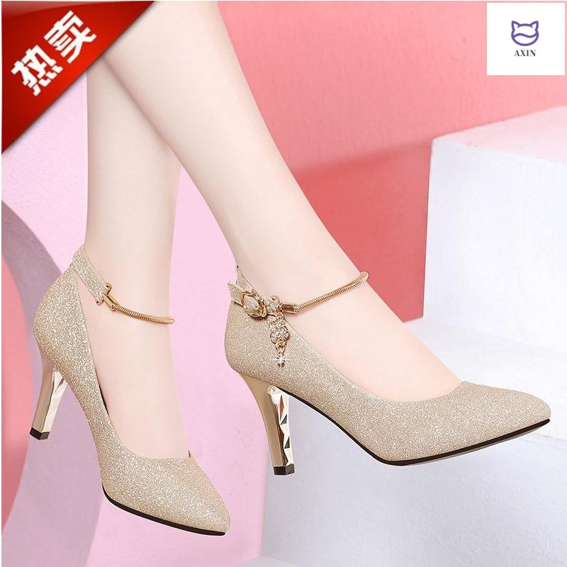 High heels womens shoes spring 2020 new all-around shallow mouth single shoes womens thin heels spring and summer shoes childrens wedding shoes