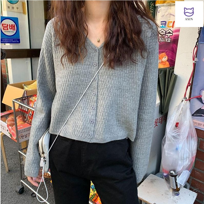 Spring lazy style Korean solid long sleeve BM knitted cardigan coat loose short age reducing sweater womens top