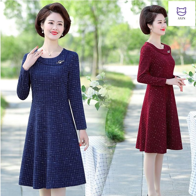 Mothers spring dress, 40 years old, 50 westernized, middle-aged womens spring and autumn long sleeve skirt, 2020 new thin long skirt