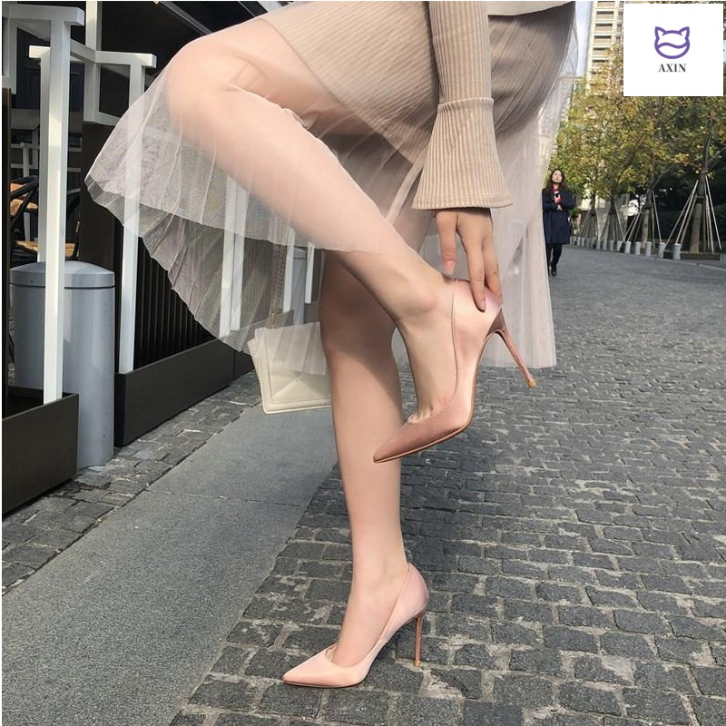 Spring 2020 nude 10cm high heels womens stiletto work shoes satin shallow mouth sexy wedding shoes pointed single shoes