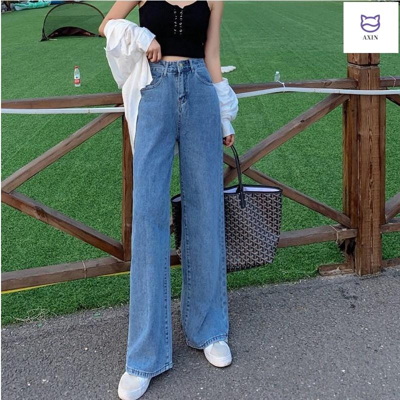 泫雅高腰牛仔裤女秋季新款宽松垂感阔腿裤显瘦坠感直筒拖地长裤子
