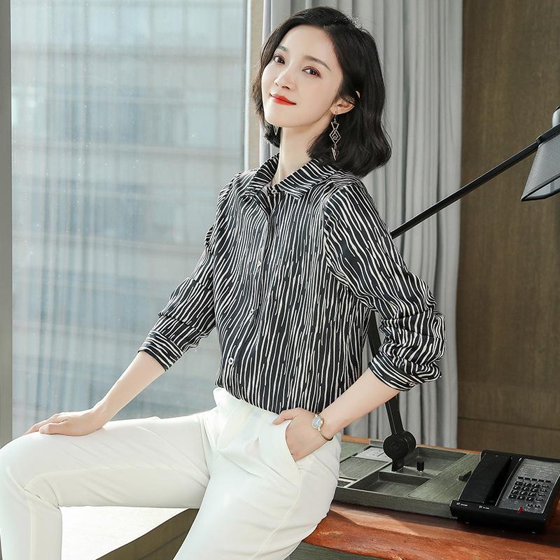 Striped heavy silk shirt womens 2021 spring dress new fashion professional shirt long sleeve mulberry silk blouse
