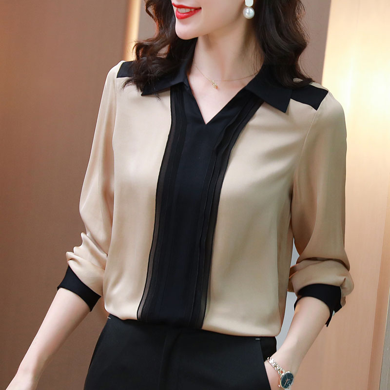 Spring 2021 new heavy silk shirt womens fashion foreign color contrast Satin Long Sleeve V-neck mulberry silk top