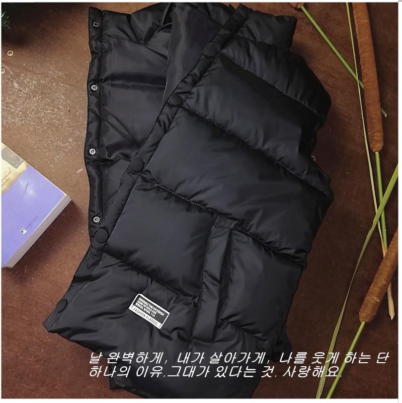Down cotton vest mens warm autumn winter coat handsome large thickened vest vest vest Korean version net red cotton jacket youth