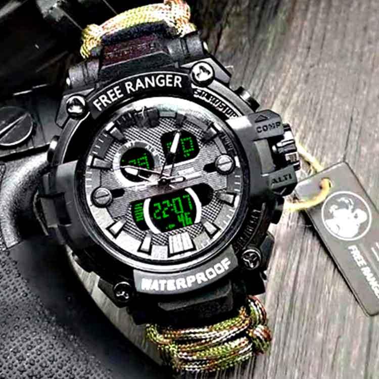 屋外の軍事羅針盤の多機能防水傘の縄の運動は野外の特殊兵の生存の戦術の腕時計の男を求めます