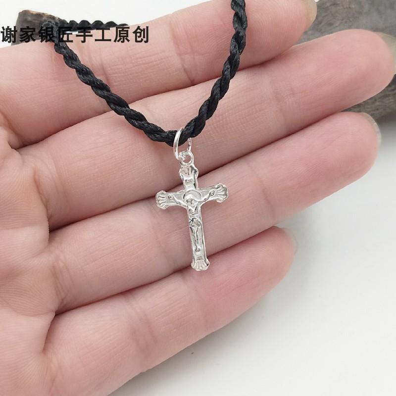 纯银十字架项链男足银耶稣吊坠女锁骨链情侣基督耶稣纯银饰品S999