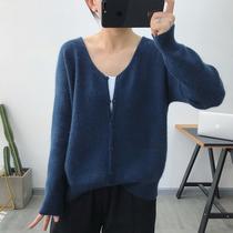 公婆家 羊毛针织开衫女春秋薄款2020年春季新款宽松韩版毛衣外套