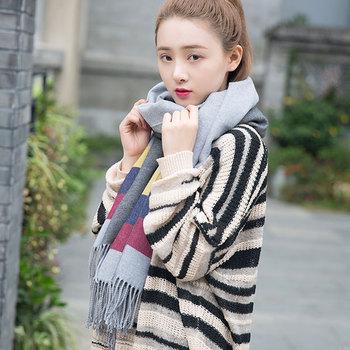 韩版双面纯色女士流苏围巾秋冬款仿羊绒保暖披肩百搭双色潮流围脖