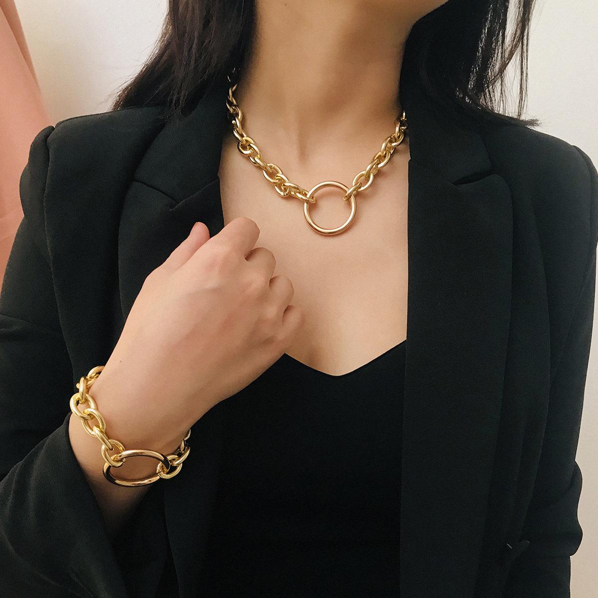 金属复古颈链简约几何圆圈项链项饰个性朋克夸张精品热卖饰品女