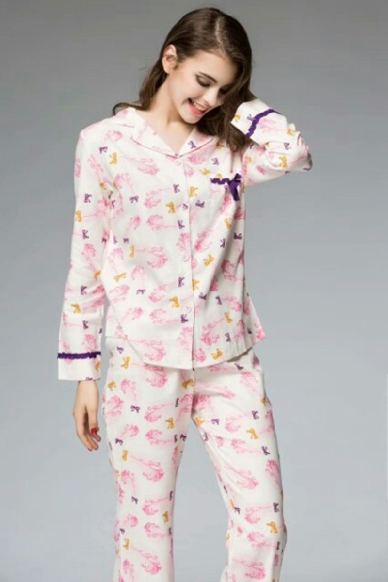 Autumn and winter sexy womens pajamas European and American frosted all cotton long sleeve set home clothes spring and autumn thin 2020 NEW
