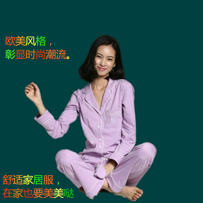 European and American womens pajamas summer moon sexy home clothes thin suit pure cotton era long sleeve fashion cotton 100
