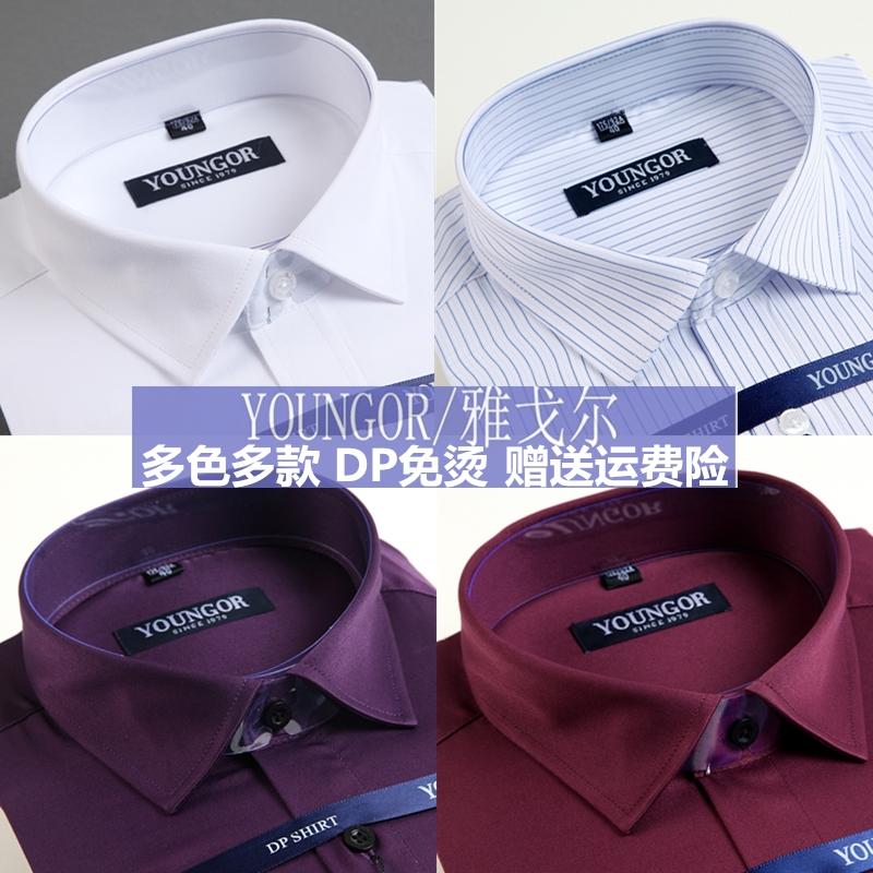 雅戈尔衬衫男装长袖正品春季新款纯棉中年免烫宽松商务休闲衬衣