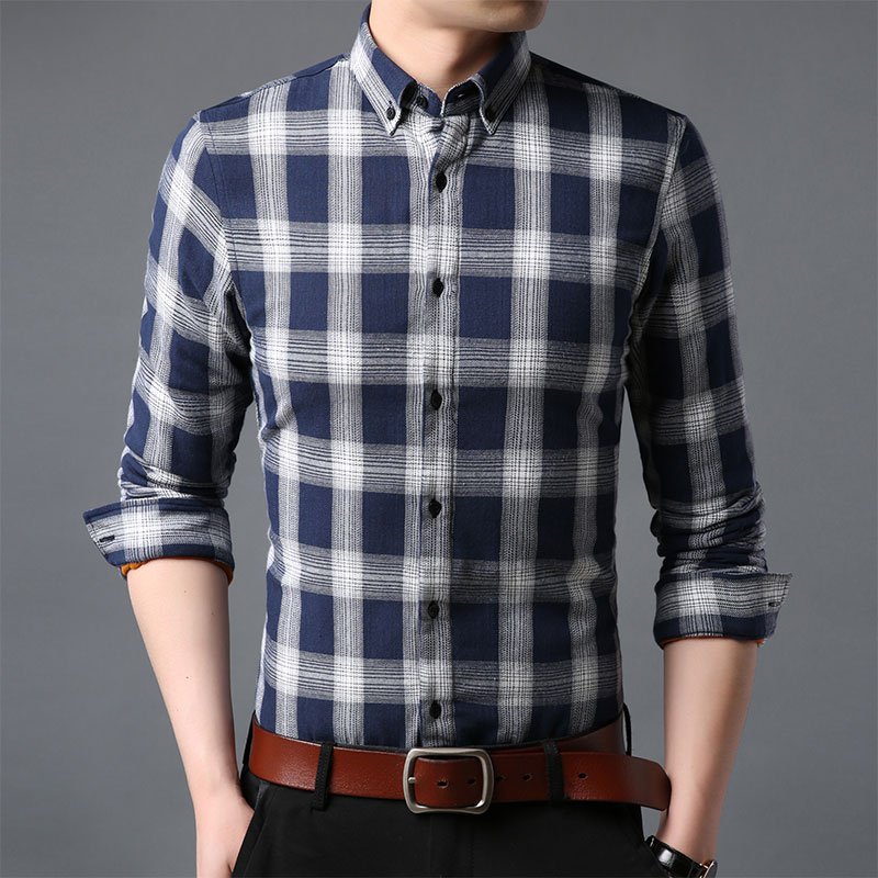 Spring and autumn thin plaid pattern long sleeve mens versatile casual business shirt fashion and comfort