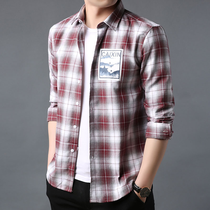 Spring and autumn comfortable casual plaid design trend classic thin versatile mens Long Sleeve Shirt Top