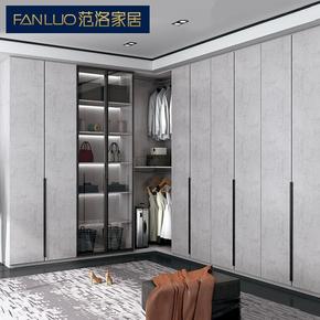 轻奢家居现代简约衣柜定制到顶卧室整体玻璃衣帽间平开门全屋定做