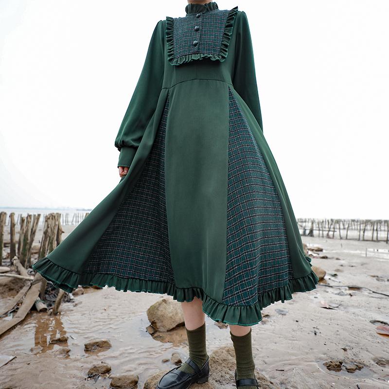 芝士日【元气森林】日系温柔风连衣裙格子拼接长裙脚踝 仙气 森系
