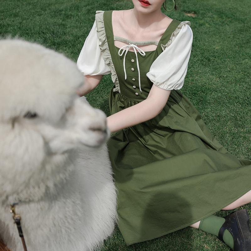 芝士日【青白绿沉】油果绿连衣裙油画裙方领长裙可爱日系森系夏