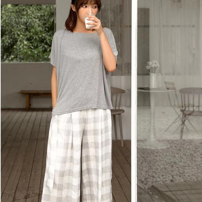 黎斐娅韩版夏季个性格子宽松棉短袖睡衣女七分裤可外穿家居服套装