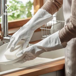 懒角落洗碗家务手套薄款加厚加绒厨房清洁洗衣服橡胶手套65717