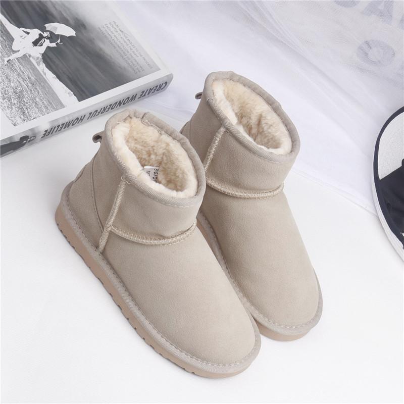比保韩版雪地靴女 牛皮靴子加绒加厚短筒及踝靴 学生圆头可爱棉鞋